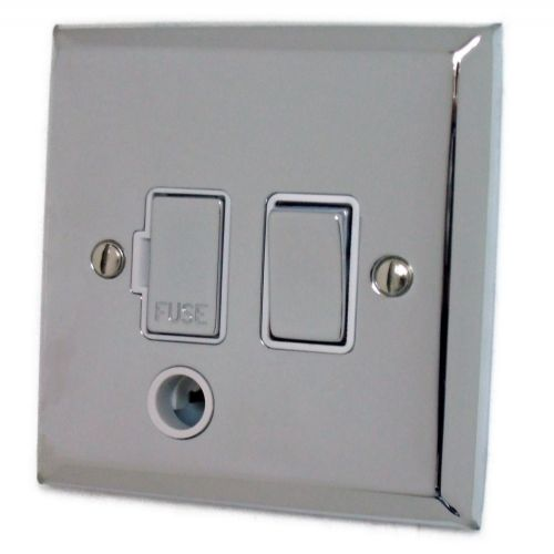 G&H SC256 Spectrum Plate Polished Chrome 1 Gang Fused Spur 13A Switched & Flex Outlet